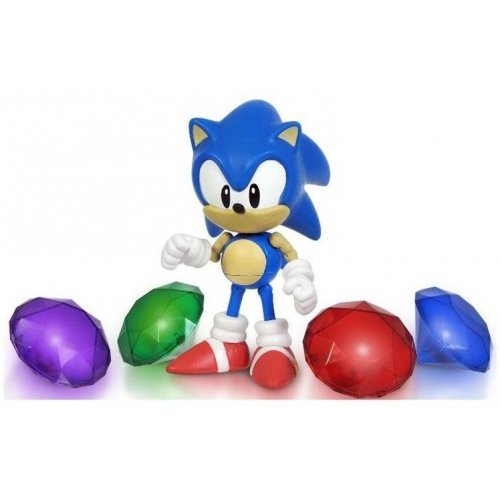 Набор Соник и 4 кристалла - Sonic with chaos emeralds (свет) 13 см